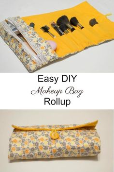 Crafty Travel Sewing - Easy to sew DIY makeup bag and brush rollup. - Crafty Travel Sewing – Easy to sew DIY makeup bag and brush rollup. up to brush up ba - Diy Sewing Projects, Sewing Projects For Beginners, Sewing Hacks, Sewing Tutorials, Sewing Crafts, Sewing Tips, Tutorial Sewing, Diy Makeup Bag Tutorial, Makeup Bag Tutorials
