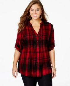 American Rag Plus Size Plaid Button-Down Shirt, Only at Macy's-$59.50