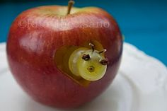 Gosh! Your baby gonna love it! Very simple idea of heart style funny red apple :-) For Valentine's or Halloween?