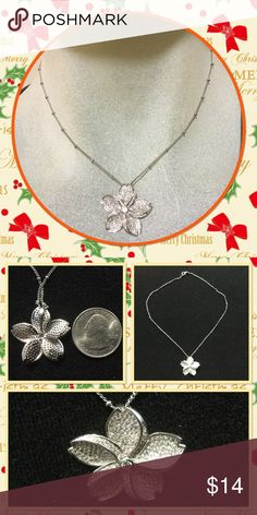 """🆕 Elegant crystal flower pendant necklace Beautiful silver tone about quarter size crystals flower pendant chain length 15"""" brand new in package Jewelry Necklaces"""