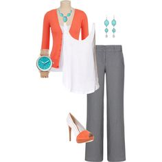 "Coral, Turquoise, White, Grey Outfit     ""Work wear"" by amy-newball on Polyvore"