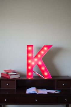 Vintage Inspired Marquee Light Letter K by SaddleShoeSigns on Etsy, $150.00 'K' for Kathryn! :D