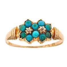 Victorian; Turquoise, diamond; size: custom; cost: $305.00