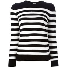 Saint Laurent Striped Sweater (13,675 MXN) ❤ liked on Polyvore featuring tops, sweaters, shirts, pitkähihat, black, cashmere sweaters, black shirt, stripe shirt, long sleeve sweaters and cashmere crewneck sweater