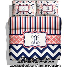 Monogrammed Striped and Chevron Nautical Anchor Bedding Navy and Coral... ($139) ❤ liked on Polyvore featuring home, bed & bath, bedding, home & living, white, nautical stripe bedding, queen bedding, twin bedding sets, white twin bedding and coral bedding