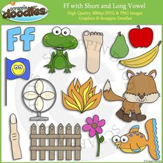 Ff Short and Long Vowel Clip Art and Line Art - $4.00 : Scrappin Doodles, Creative Clip Art, Websets & More