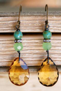 Maxine. vintage glass topaz drop earrings. by tiedupmemories, $28.00