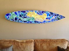 My new mermaid stained glass mosaic surfboard