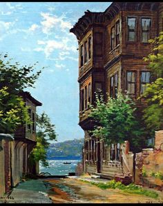 Yalı City Landscape, Landscape Photos, Landscape Paintings, Clay Wall Art, Oil Painting Pictures, Building Sketch, Turkish Art, Old Street, Z Arts