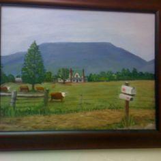 """Farm at foot of Mt. Nebo, AR.   16 x 20 oils"