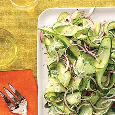 Creamy and tangy, this simple side comes together in a flash. Don't make the salad ahead--the cucumbers will release too much water.