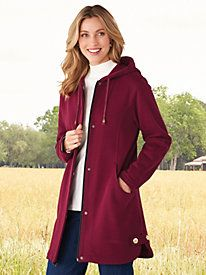 """This heavier weight fleece jacket is stylish, comfortable and machine washable."" ~ Stylish customer on our Hooded Button-Trim Fleece Jacket from Blair Black Rain Jacket, Rain Jacket Women, Only Fashion, Lightweight Jacket, Blazer Jacket, Lounge Wear, Jackets For Women, Women's Jackets, Hoods"