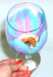Pink and Turquoise Wine Glass Hand Painted by ConniesCreations2010, $9.00
