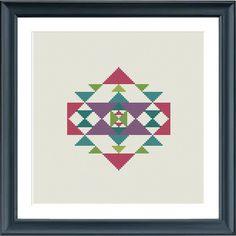 modern cross stitch pattern geometric kelim ornament par Happinesst