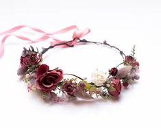 Wedding Flower Crowns and Bridal Headpieces от LisaUaShop на Etsy Fuchsia Flower, Burgundy Flowers, Flower Girl Crown, Flower Crowns, Bridesmaid Flowers, Bridal Flowers, Floral Crown Wedding, Flower Headpiece, Bridal Headpieces
