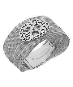 Another great find on #zulily! Silver Metallic Mesh Flower Bracelet #zulilyfinds