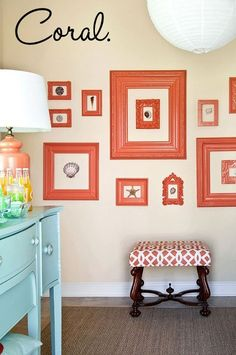 Love the varying frame size...maybe for the light aqua powder room...