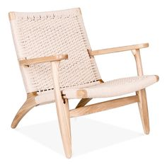 Hans J Wegner CH25 Style Lounge Chair – Natural / Natural Seat