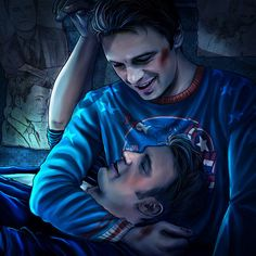 Bucky's Instagram post of himself wearing his Captain America sweater while holding Steve. Posted on Tumblr.com by the-life-of-bucky-barnes.