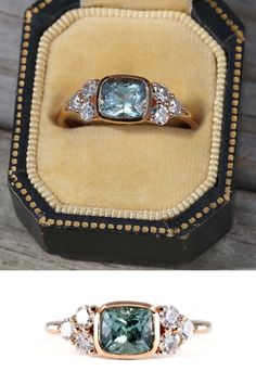 There is something so bright and crisp about this sapphire from Montana, USA. It sparkles in the light, dancing with tones of turquoise, blue, and a refreshing dash of mint. Encircled by a minimal and secure bezel of rich rose recycled gold single antique cut side diamonds add that extra touch of sparkle.