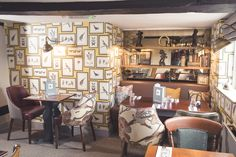 The Queens Head, gastro pub, pub, restaurant, lighting, interior design, wallpaper design, wallpaper ideas, sanderson wallpaper, seating, yellow, bird chair design, duck furniture