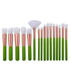 16pcs Makeup Brushes Green Handle Rose Tube White Hair Pinceis De Maquiagem Pinceaux Maquillaje Foundation Palette Eyeshadow