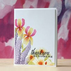 Floral Thank You Card by Laura Bassen for Papertrey Ink (April 2015)