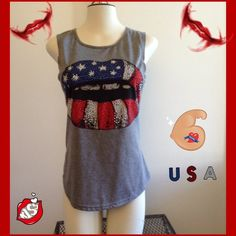 Lips Muscle Tank😍🇺🇸🇺🇸😍BUNDLE ONLY Gray tank, muscle style, with sequined lips! Very cool top, too tight on me. Brand new, no tags , comes in ordinal bag from where I ordered it from. True Rock Tops Muscle Tees