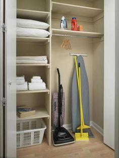 "pics of utility closets | Sample Chicago furnished apartment utility closet #""laundryroomstoragesmall"" Bathroom Linen Closet, Hallway Closet, Hallway Storage, Closet Shelves, Laundry Room Organization, Room Shelves, Laundry Room Design, Cupboard Storage, Closet Storage"