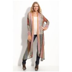 Village Road Long Knit Cardigan Beautiful subtlety colored yarn open-knit cardigan with a cropped back and long, draping front hems. Sold out but was sold at Urban Outfitters and Nordstrom so listed as such. Great like new condition. Second pic not mine. Actual item has color scheme of first pic Urban Outfitters Sweaters Cardigans
