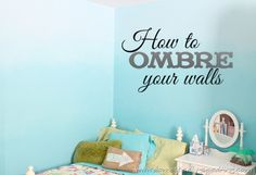 Power of Paint Party& Ombre Bedroom Wall Tutorial Bedroom Wall, Girls Bedroom, Bedroom Ideas, Diy Bedroom, Ocean Bedroom, Bedrooms, Paint Party, My New Room, Diy Painting