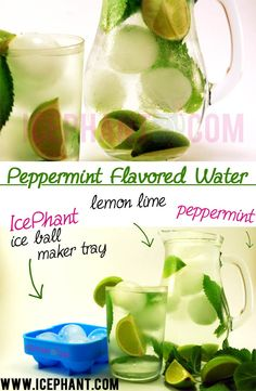Peppermint Flavored Water With Lime and Ice Balls - IcePhant.com