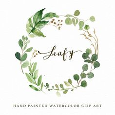 Watercolor leaf wreath clipart-Leafy/Hand Painted/Wedding design