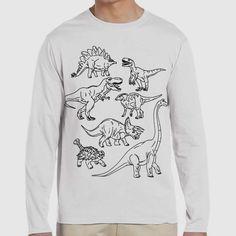 Dinosaur   Quote Slogan Illustration Personalised Unisex, Tumblr, Blog Fashion Long Sleeve Drawing Funny, Hipster, Joke, Gift, Tee, T-Shirt, Top Men Women Ladies Boy Girl Pyjama Animal