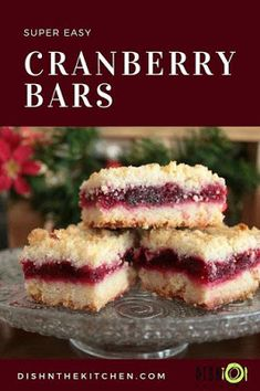 Cranberry Bars are rich, buttery and so easy to make. Perfect for the holidays a… Cranberry Bars are rich, buttery and so easy to make. Perfect for the holidays and a great way to use up any leftover fresh cranberries or cranberry sauce. Party Desserts, Holiday Baking, Christmas Desserts, Christmas Baking, Just Desserts, Christmas Cookies, Health Desserts, Christmas Decorations, Christmas Tree