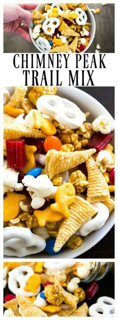 Chimney Peak Trail Mix is a sweet and salty combination that is easy to throw together. There is there is something for everyone in this delicious snack. Trail Mix Recipes, Snack Recipes, Dessert Recipes, Yummy Recipes, Recipies, Quick Snacks, Yummy Snacks, Snacks Kids, Toddler Snacks