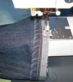 Hemming jeans and keeping the original hemline.