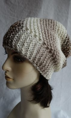 Hand Knit Oversized Beanie for women, Beige-brown cap, Valentines gift for her, mother's day gift, Ready-to-ship Girl Beanie, Slouch Beanie, Beanie Hats, Valentines Gifts For Her, Circular Needles, Knitted Poncho, Wool Yarn, Hand Knitting, Winter Hats