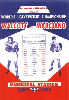 "Rocky Marciano vs Jersey Joe Walcott Boxing Poster 1952 • $9.95 - 100% Mint unused condition • Well discounted price + we combine shipping • Click on image for awesome view • Poster is 12"" x 18"" • Semi-Gloss Finish • Great Boxing Collectible - superb copy of original • Usually ships within 72 hours or less with > tracking. • Satisfaction guaranteed or your money back. Sportsworldwest.com"