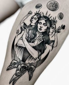 Triple goddess - Triple goddess You are in the right place about Triple goddess Tattoo Design And Style Galleries On - Future Tattoos, New Tattoos, Body Art Tattoos, Tattoo Drawings, Cool Tattoos, Tatoos, Awesome Tattoos, Black Tattoos, Piercing Tattoo