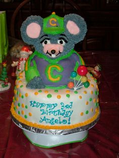 Abbies Chuck E Cheese Cake Cheese cakes Cheese and Birthdays