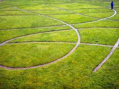 Swirls of brick paths