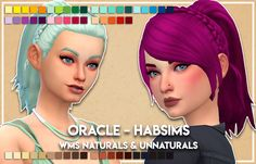 I kinda love this hair okay. Habsims Oracle hair, V1 and V2, recolored in WildlyMiniatureSandwich's naturals and unnaturals. Added as additional swatches. Separate files. Meshes needed here Download -...