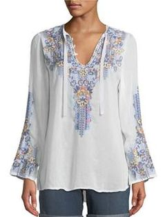 Johnny Was Plus Size Tanya Embroidered Georgette Blouse Over 50 Womens Fashion, Fashion Over 50, Women's Fashion, Fashion Outfits, Plus Size Blouses, Plus Size Dresses, Red Wedding Dresses, Johnny Was, Types Of Sleeves