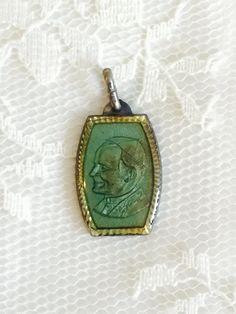 25% OFF SALE Pope Saint John Paul II Vintage Green Pendant