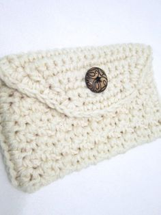 Crocheted Cream Hand Bag Clutch Prom Purse by crochetedbycharlene, $12.00