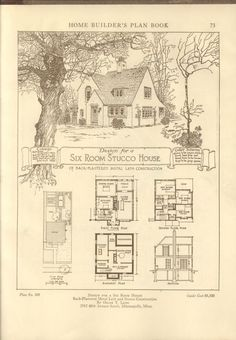 Home builder's plan book; a collection of architectural designs for small houses submitted in competition by architects and architectural draftsmen in connection with the 1921 Own your home expositions, New York and Chicago, 1921 Architecture Design, Vintage Architecture, Storybook Homes, Storybook Cottage, Small House Plans, House Floor Plans, The Plan, How To Plan, Vintage House Plans