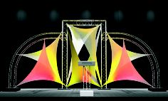 Truss and Spandex for a stage - great for lighting and gobos. Stage Set Design, Set Design Theatre, Church Stage Design, Booth Design, Fabric Backdrop, Fabric Canopy, Fabric Decor, Fabric Art, Dance Studio Design