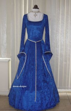 Medieval LOTR Pagan Dress Costume Royal Blue Velvet and Silver