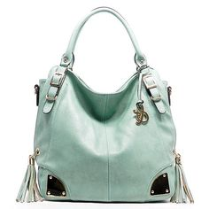 Mint handbag with side tassel accents